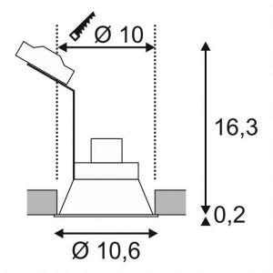 SLV Spot Encastré LED HORN-O   Rond, IP21, Lampe de Plafond Variable pour Eclairage Intérieur, Spot LED, Réflecteur, Projecteur de Plafond   Plafonnier, Encastré, 1 Lampe  GU10 QPAR51, EEC E-A++