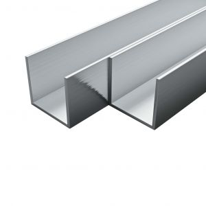 VidaXL Canal Aluminium 4 pcs Profil en U 2 m 35x35x2 mm