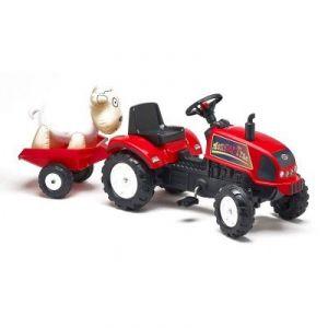 Falk Tracteur à pédales Farmtrac rouge avec remorque et mouton