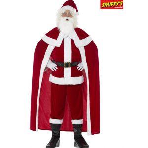 Smiffy's Déguisement Père Noël Deluxe, rouge avec un pantalon, veste, cape, ceinture, cou