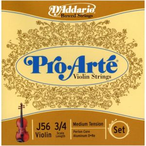 D'Addario Pro-Arte - jeu de cordes pour violon 3/4 - Tirant moyen - (Import Royaume Uni)