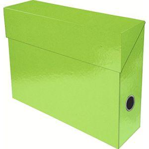 Exacompta 89923E - Boîte transfert IDERAMA en carte 22/10e, dos de 90, coloris vert anis