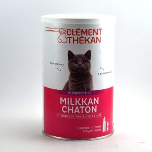 Clément Thékan Milkkan Chaton - Vitamines et protéines 400 g de Poudre + 1 Biberon + 2 Tétines