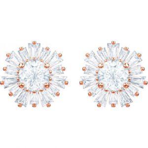 Swarovski Boucles d'oreilles Sunshine, blanc, plaqué or rose Gris