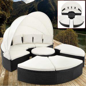 Deuba Bain de soleil rond noir en polyrotin Ø 230cm Salon de jardin avec Pare-soleil