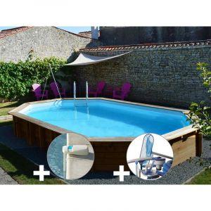 Sunbay Kit piscine bois Safran 6,37 x 4,12 x 1,33 m + Alarme + Kit d'entretien