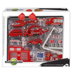 John World Coffret véhicules de pompiers