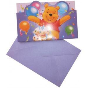 6 cartes d'invitation et enveloppes Winnie