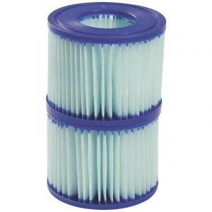 Bestway Cartouche de filtration piscine Lay-Z - Diamètre 10,6 cm - Hauteur 8 cm - Vendu par 2 - Bleu et blanc