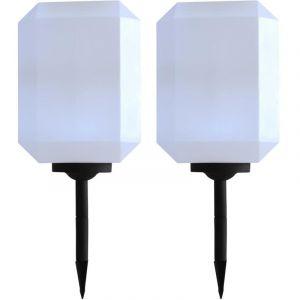 VidaXL Lampe solaire à LED d'extérieur 2 pcs 30 cm Blanc