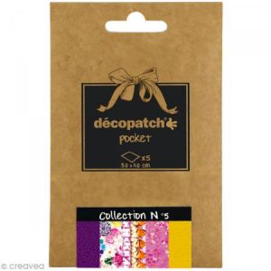 decopatch Lot de 5 papiers - Déco Pocket n°5