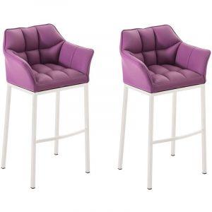 CLP Lot 2 tabourets de bar Damaso 4 pieds similicuir, violet violet, hauteur de l assise