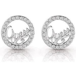 Guess Boucles d'oreilles UBE85075 - Boucles d'oreilles Authentics Puces Métal Rhodié Logo Pavé Femme