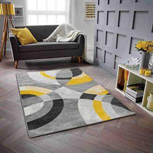 Nazar GALA Tapis de salon en polypropylène - 160 x 230 cm - Jaune - Motif Circulaire