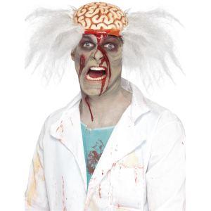 Perruque docteur fou cerveau ouvert homme Halloween
