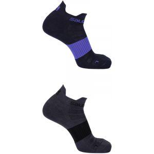 Salomon Sense - Chaussettes course à pied - 2 Pack gris/noir EU 36-38 Chaussettes Running
