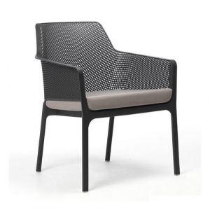 Nardi Coussin d'assise pour fauteuil de jardin NET RELAX 57x52 par - Gris - Extérieur - Fermeture Zip