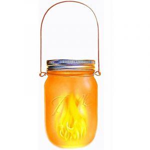 Lanterne solaire décorative JAMY FLAME transparent verre H14cm