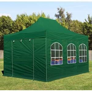 Intent24 Tente pliante 3x4,5 m avec fenêtres vert fonce PROFESSIONAL tente pliable ALU pavillon barnum.FR