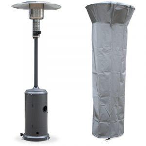 Alice's Garden Chauffage d'extérieur gaz 12,5kW - Finland - Parasol chauffant gris, réglable, porte en façade, roulettes et housse