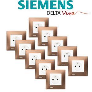 Siemens LOT 10 Prise 2P+T Blanc Delta Viva + Plaque Métal Marron