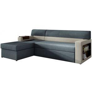 Comforium Canapé d'angle convertible 3 places en tissu bleu marine et gris avec coffre méridienne côté gauche