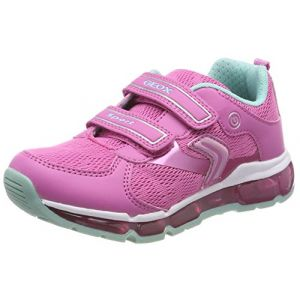 Geox Android A, Baskets Basses Fille, Rose (Fuchsia/Watersea), 33 EU