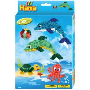 Hama Boîte de 2000 perles à repasser avec plaques : Les dauphins