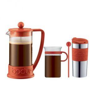 Bodum K10948-294 - Set de cafetière à piston avec 3 tasses + mug de voyage