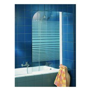 Schulte-ufer Pare-baignoire Capri paroi de baignoire 80 x 140 cm écran de baignoire 1 volet profilés blancs Schulte décor rayures