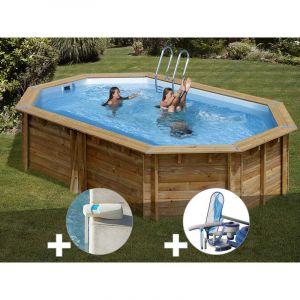 Sunbay Kit piscine bois Cannelle 5,51 x 3,51 x 1,19 m + Alarme + Kit d'entretien