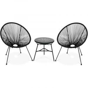 Alice's Garden Lot de 2 fauteuils ACAPULCO forme d'oeuf avec table d'appoint - Noir - Fauteuils design rétro