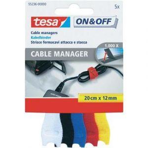Tesa ON&OFF Cable Manager Small - Lot de 5 serre-câbles flexibles 20 cm x 12 mm