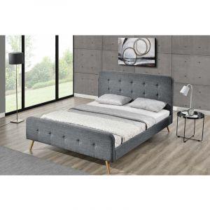 Concept-Usine Lit Lanka - Cadre de lit scandinave gris foncé avec pieds en bois - 140x190