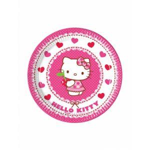 8 petites assiettes en carton Hello Kitty (19.5 cm)
