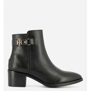 Tommy Hilfiger Th Buckle Mid Heel Boot Leather, Botines Femme, Noir (Black 990), 36 EU