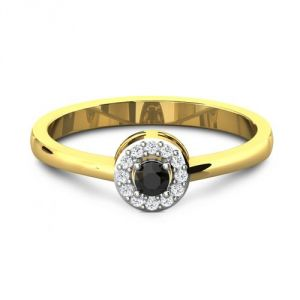 CaraShop 3663644082657 - Solitaire diamants noirs entouré de diamants en or jaune