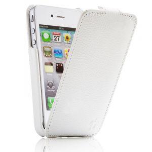 Issentiel Housse pour iPhone 4/4S Cuir Blanc Grainé - Collection Prestige