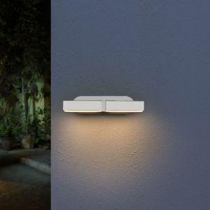 Silamp Applique Murale Double Blanche LED 12W IP54 Orientable Ovale - Blanc Neutre 4000K - 5500K