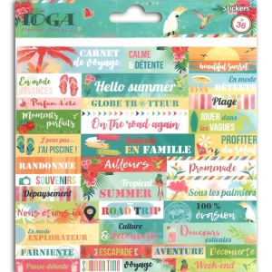 Toga Tropical Paradise Planches de Stickers, Papier, Multicolore, 15 x 15 x 0,1 cm