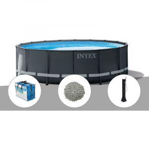 Intex Kit piscine tubulaire Ultra XTR Frame ronde 5,49 x 1,32 m + Bâche à bulles + 20 kg de zéolite + Douche solaire