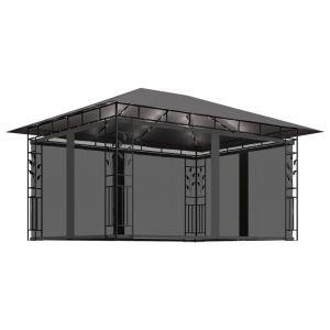 VidaXL Tonnelle avec moustiquaire et lumières 4x3x2,73 m Anthracite