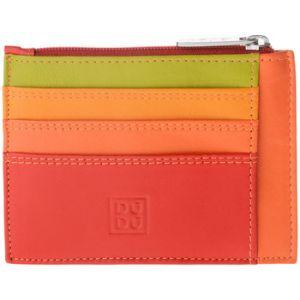 Dudu Petite pochette porte-cartes de crédit en cuir véritablele multicolore avec portefeuille zippé signé Rouge