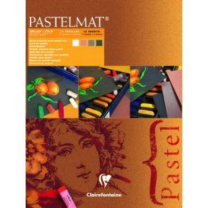 Clairefontaine 96005C - Bloc encollé de 12 feuilles de papier vergé Pastelmat n°2, 360 g/m², 18x24, coloris assortis pastel (brun, sienne, anthracite, blanc)