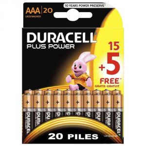 Duracell 20 piles AAA LR03 1.5V Plus Power