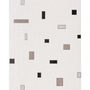 Edem Papier peint vinyle très résistant 584-20 aspect carrelage decoratif mosaique cuisine bain blanc gris noir