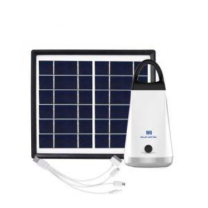 Galix Kit d'éclairage à énergie solaire - Lampe H 15,5 x Ø 70 mm - 1 lampe à 6 LED - 1 panneau solaire - 1 batterie rechargeable - 1 port USB 5V 1A - Lampe H 15,5 x Ø 7 cm