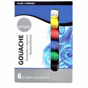 Daler Rowney Coffrets de gouache Simply - 6 tubes de 12 ml