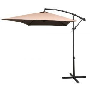 Pegane Parasol décentré rectangle coloris taupe - Dim: 2 X 3 m -