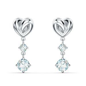 Swarovski Boucles d'oreilles 5517943 - Boucles d'oreilles métal rhodié blanc c?ur et pierre bleue Femme